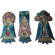 Set 3 Majolica Glaze Pottery Lady Angels Madonna Plaques