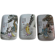 Set China Trays With Three Chinese Gods For Good Luck