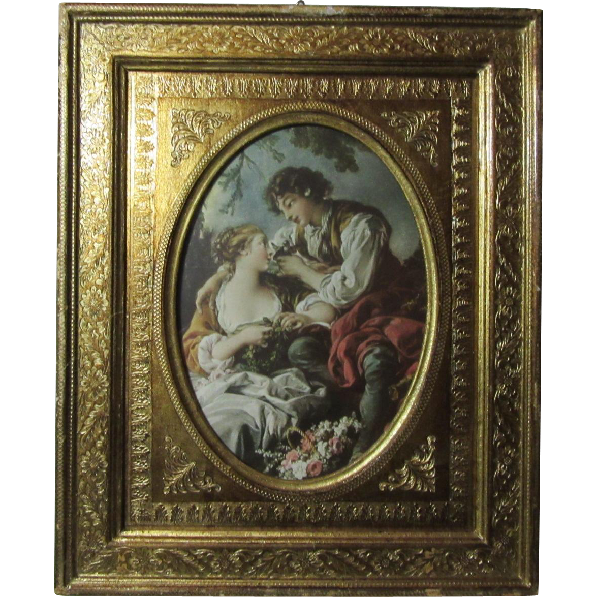 Italian Florentinen Gold Gilt Frame With Original Print of Boucher Love Scene