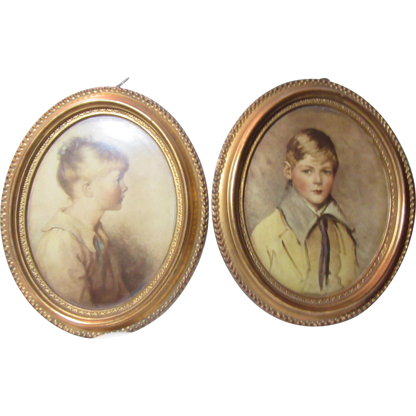 Borghese Pair Plaques Boy And Girl Gold Frames