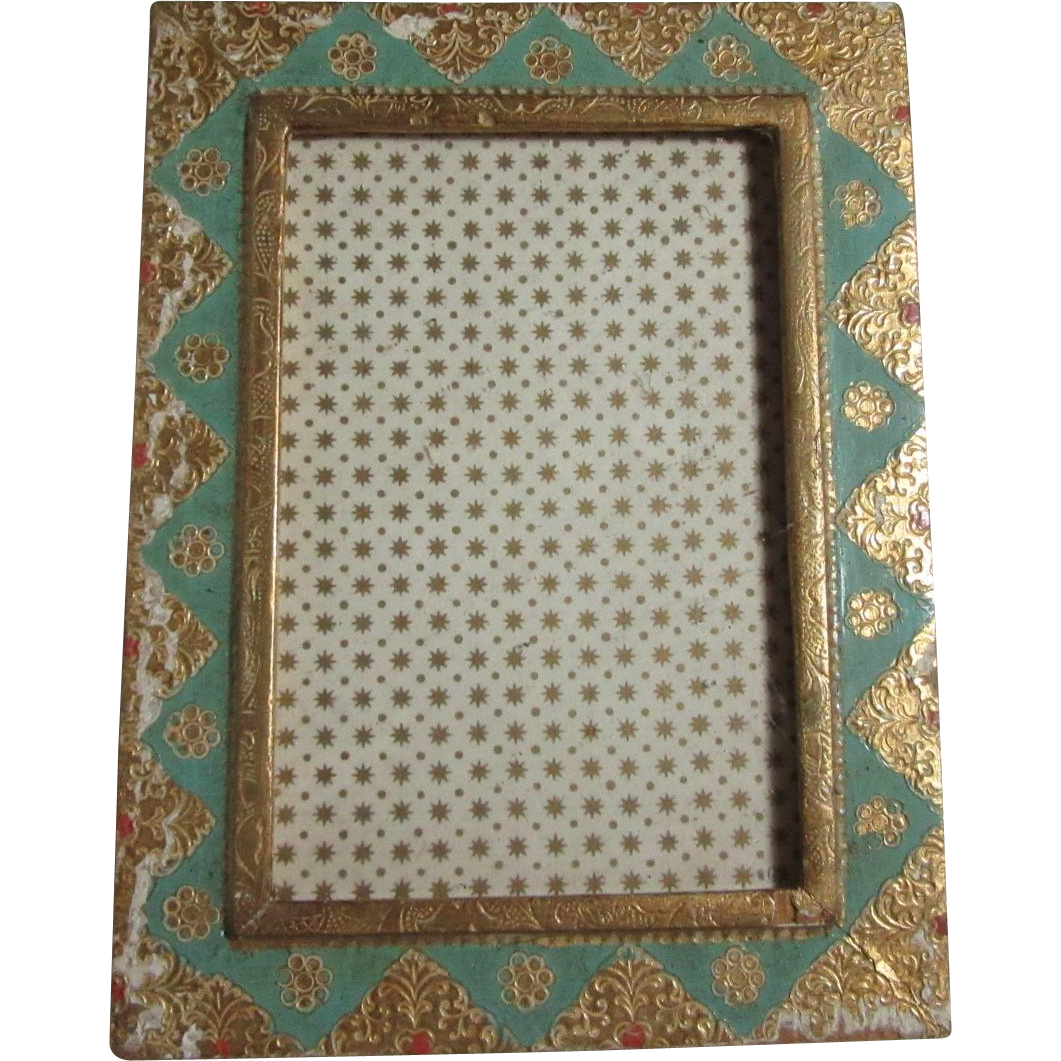 Italian Florentine Gold Gilt and Blue Picture Frame
