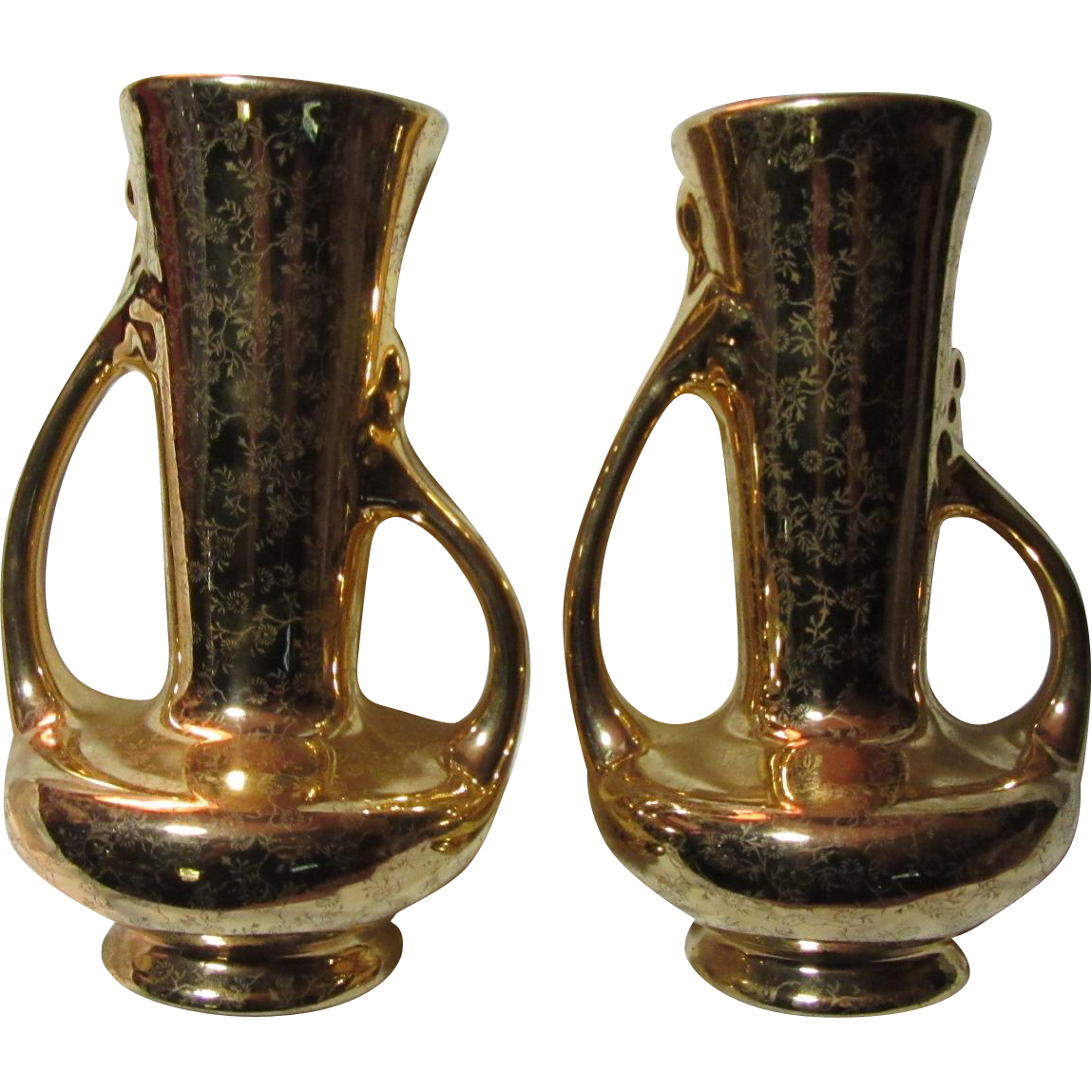 Pearl China Co 22K Gold Decorated Pair Vases