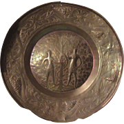 Brass Adam and Eve Alms Dish Plate