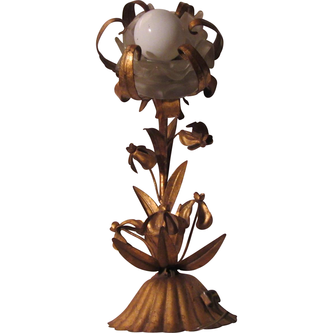 Old Gold Gilt Metal Florentine Style Bath or Hall Sconce Wall Light Glass Flower Center