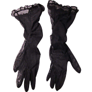 Black Netting Ladies Gloves Vintage Clothing Accessory