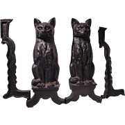 Black Cat Andirons Set Chrome Plate Co Nashville Old Fireplace Accessory