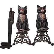 Vintage Black Cat Andirons Fireplace Accessory Glass Eyes