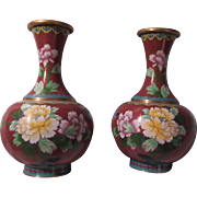 True Pair Cloisonne Vases with Flowers and Birds