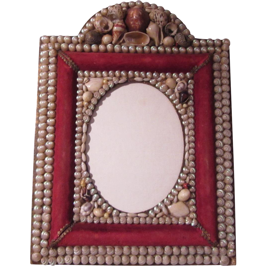 Antique Shell Covered Frame Sailor Folk Art