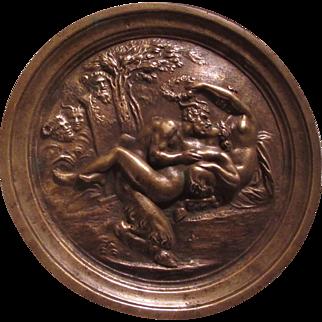 Old Bronze Plaque Pan Goat Man Nude Ladies Woodland Creatures