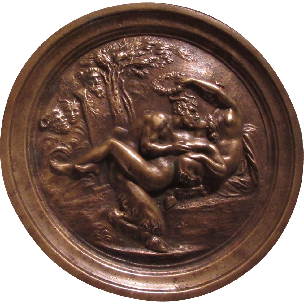 Old Bronze Plaque Pan Goat Man Nude Ladies Woodland Creatures