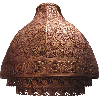 Gold Gilt Metal Filigree Large Lampshade
