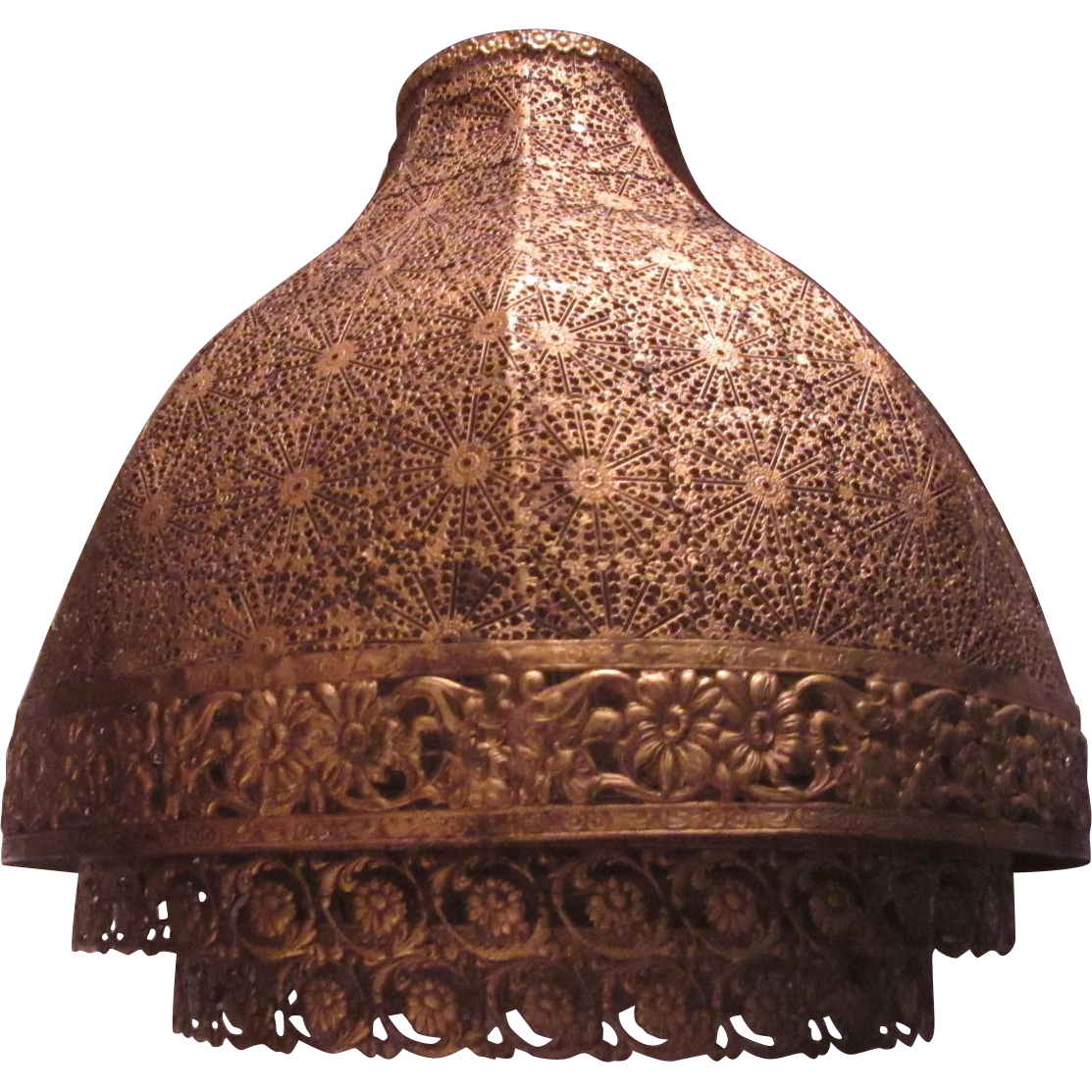 Gold Gilt Metal Filigree Large Lampshade