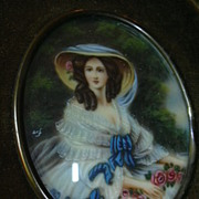 Old Miniature Painting  Velvet Frame Fine Art