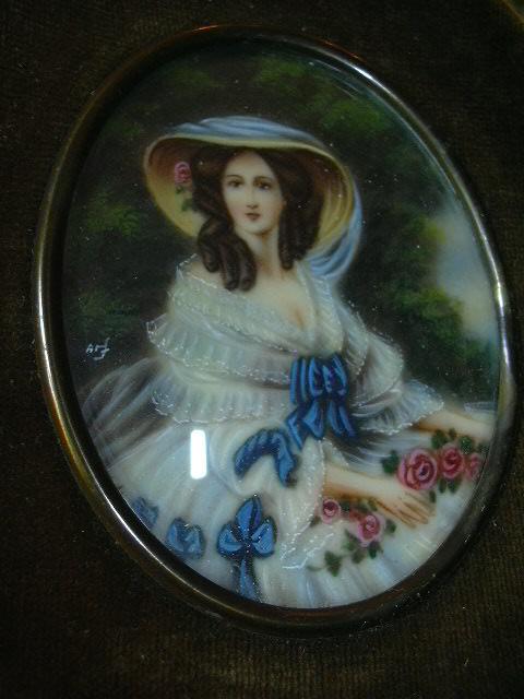 Old Miniature Painting  Velvet Frame Fine Art