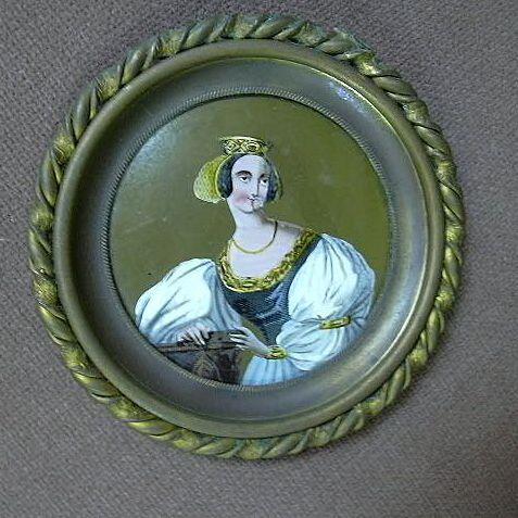 Eglomise Reverse Painting On Glass Miniature Portrait Art