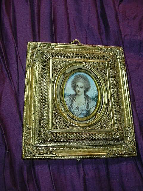 Miniature Painting In Rare Elaborate Gilt Frame Hand Painted Art