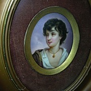 Hand Painted Porcelain Miniature Young Boy With Earring Framed Art