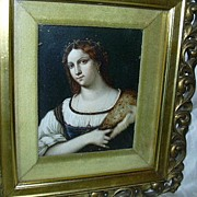 Miniature Painting  Portrait Of A Woman By Piombo Framed Art