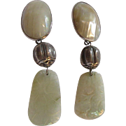 Old Oriental Design Clip Earrings Mabe Pearl Or MOP Carved Jade