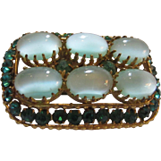 Old Czech Czechoslovakia Brooch Pin Green Aqua Stones