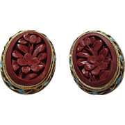 Chinese Cinnabar Clip Earrings