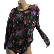 Laurance Kazar Black Silk Chiffon Beaded Sequin flowers  Blouse Vintage Evening Clothing