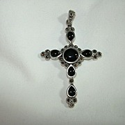 Sterling Silver Black Onyx & Marcasites Cross