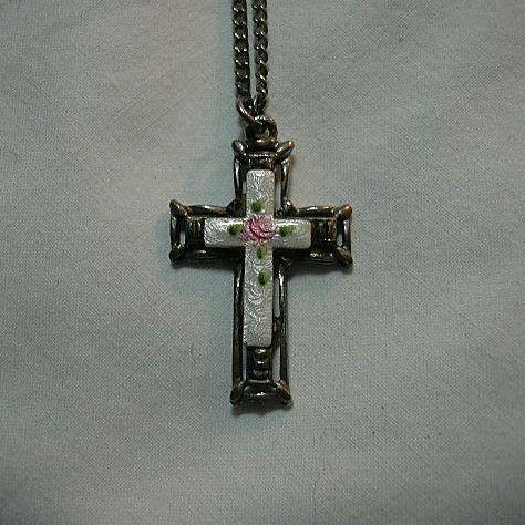 Old Enamel Cross With Pink Roses