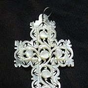 Carved Mother Of Pearl MOP Cross Jerusalem