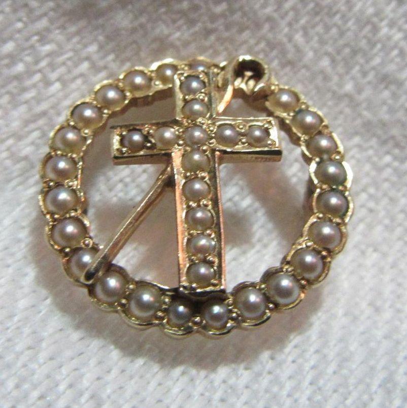 14K Gold & Seed Pearl Cross & Crozier