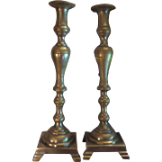 Pair Solid Brass 18 Inch Laerge Tall Heavy Candle Holders Possible Lamps