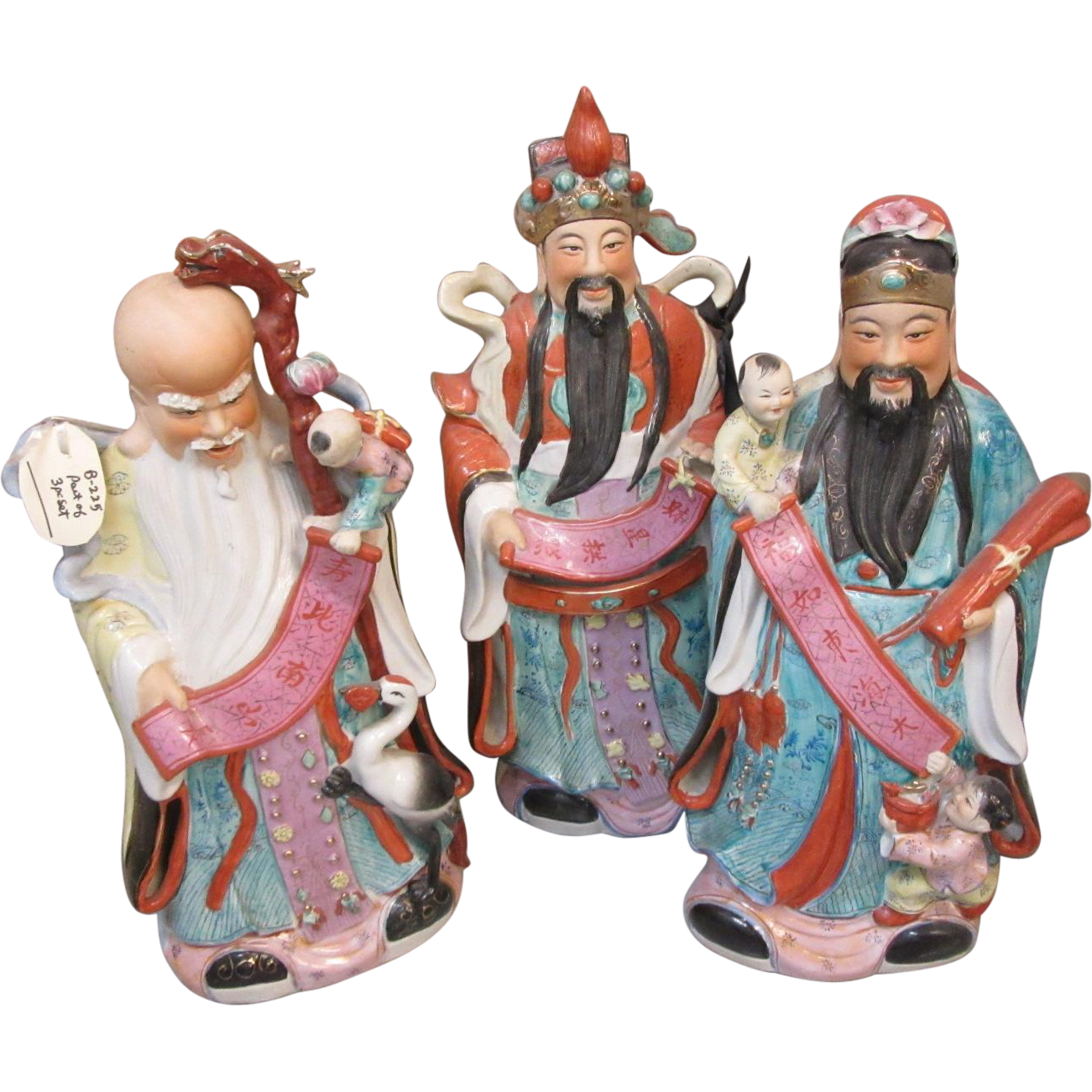 Set 3 Large Chinese Gods Good Luck Long Life Statues