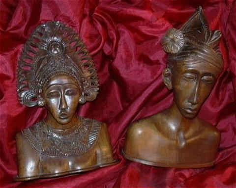 Hand Carved Wood Bust  Man & Woman Kashmir India Indian Middle Eastern Woodcraft Statues Ethnic Native  Costumes