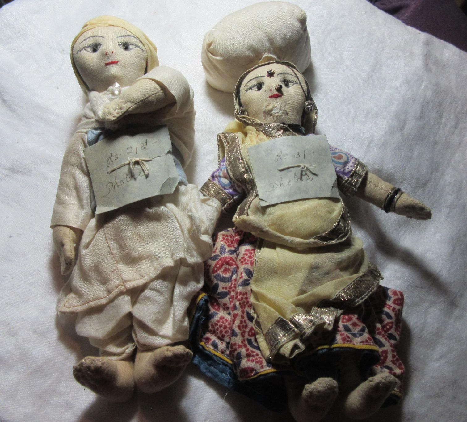 Pair Vintage Cloth Dolls of India Dhobin Lady & Dhobie Man Fine Textile Indian Art