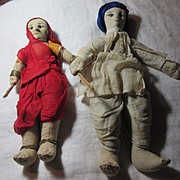 Pair Vintage Cloth Dolls of India  Lady &  Man Fine Textile Indian Art