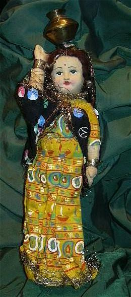 Vintage Cloth Doll of India Beautiful Woman Native Costume Fine Textile Indian Art