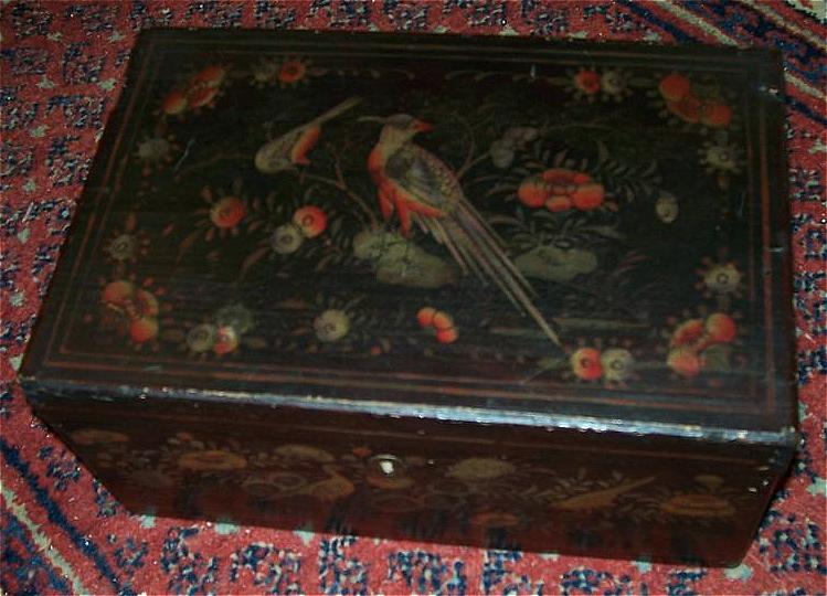 Antique Box Oriental Lacquer Ware Birds Flowers Fine Lacquerware Art