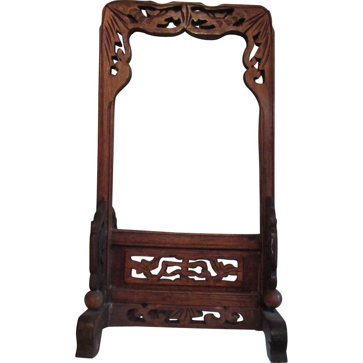 Old Carved Wood Oriental Chinese Bell Stand