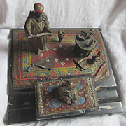 Austrian School Vienna Bronze & Marble Desk Ink Well Set Orientalist Arab Theme