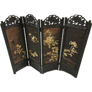 Folding Screen Oriental Design Embroidered Fabric