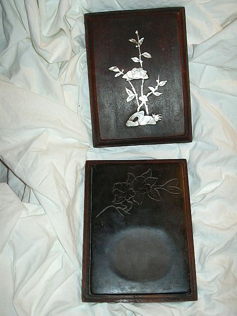 Chinese Carved Ink Stone Mother Of Pearl Inlay Box Calligraphy Scholar Arts