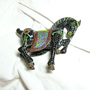Antique Cloisonne Horse Fine Chinese Champleve Style Enamel Figurine Statue