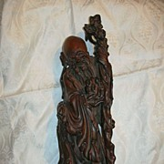 Carved Wood Chinese Man  God Statue