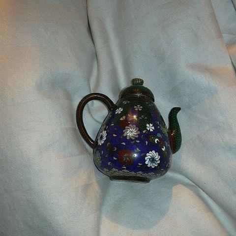 Rare Miniature Cloisonne Teapot Oriental Metalwork Art