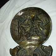 Old Japanese Bronze Or Metal Mirror Shaped Plate Geisha & Samurai