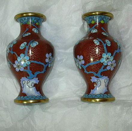 Pair Small Cloisonne Vases With Dogwood Flowers