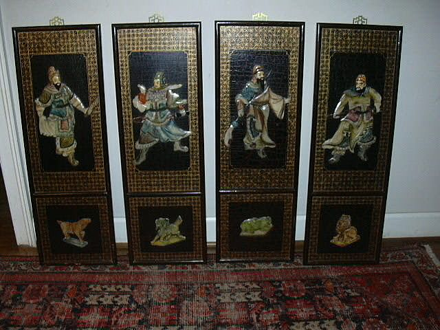 Set 4 Japanese Screen Panels Inlay Stones Oriental Art