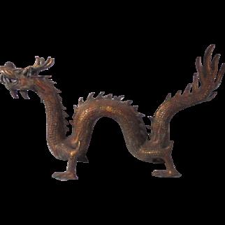 Gold Gilt Metal Large Chinese Dragon Statue