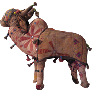 India Middle Eastern Animal Bull Cow Embroidered Handmade Old Figure Needlework
